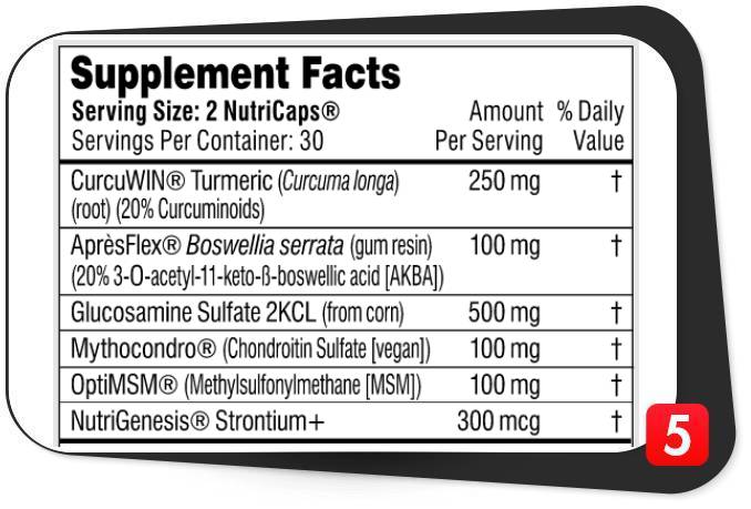The supplement facts label for Performance Lab Flex in our review