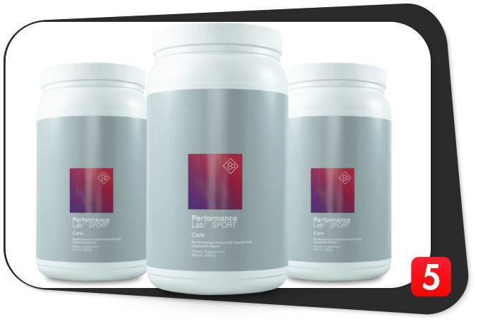 3 containers of Performance Lab Carb from the Sport range