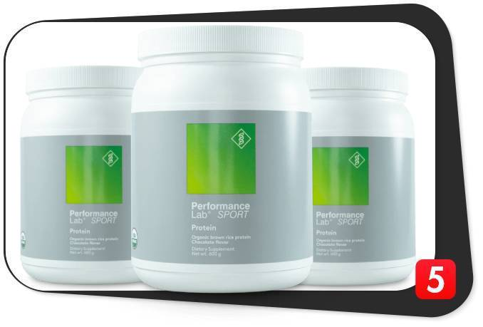 3 containers of Performance Lab Protein powder for this review