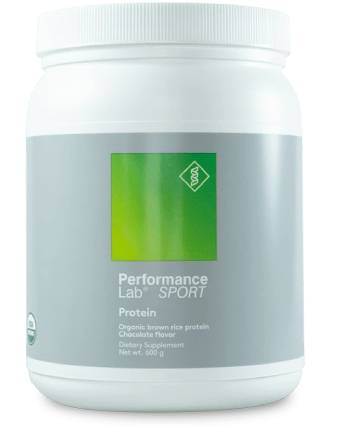 A container for 20 servings of Performance Lab Protein