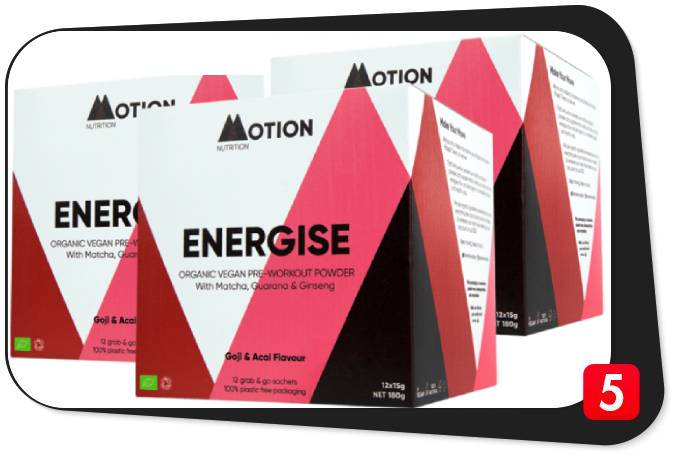 3 boxes of Motion Nutrition's Energise Pre-Workout in this review