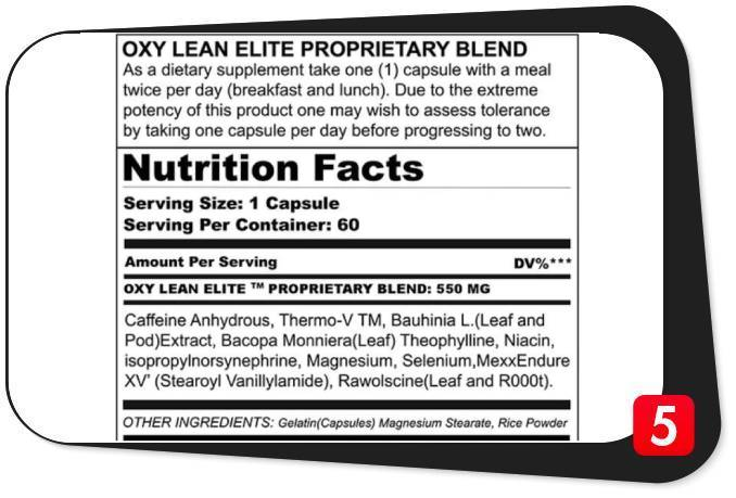 The supplement facts label for Oxy Lean Elite Fat Burner in this review