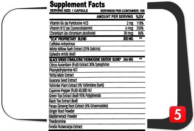 Supplement Facts Label for Black Spider Fat Burner