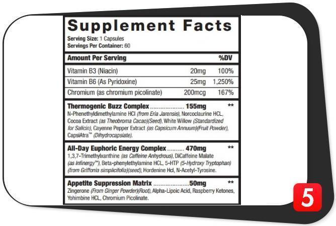 The supplement facts label for HyperGenetic Killer Bee's in this review