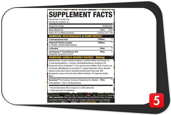 MuscleSport Rhino Rampage Supplements Facts Label