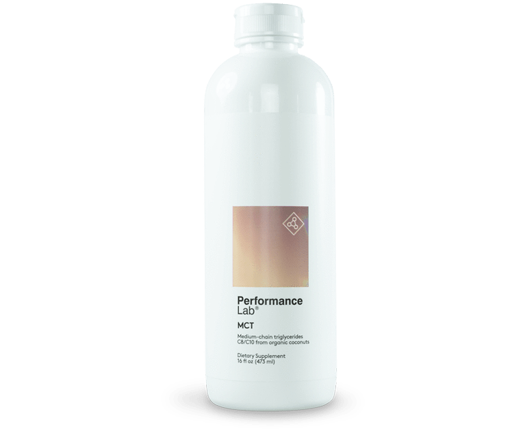 A bottle of Performance Lab MCT