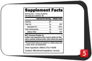 NutraBio MCT Powder Supplement Facts